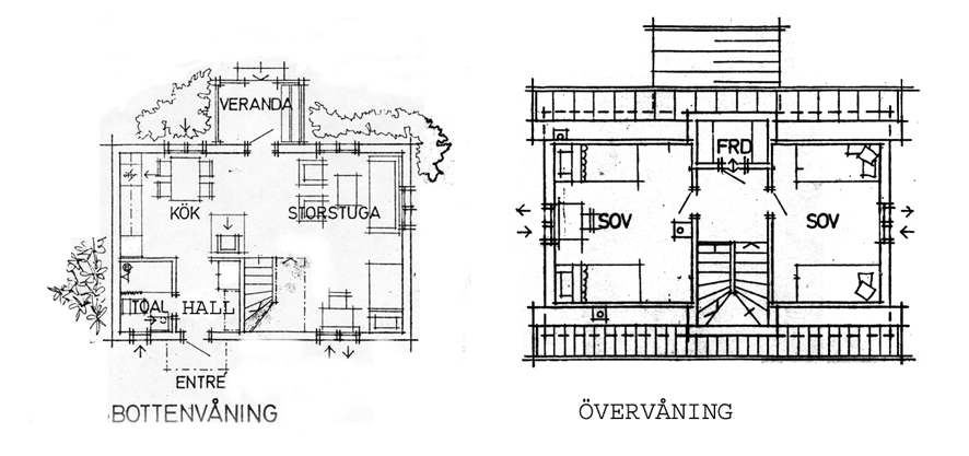 Teckningar över stugornas planlösning